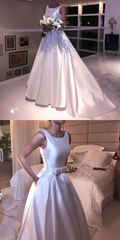 A Line Scoop Neck Bow Sashes Satin Wedding Dresses Fall Bridesmaid Dresses, Wedding Dresses 2018, Black Wedding Dresses, Wedding Dress Trends, Elegant Wedding Dress, Wedding Attire, Bridal Dresses, Wedding Ideas, Open Back Wedding Dress