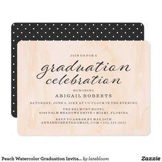 Peach Watercolor Graduation Invitation