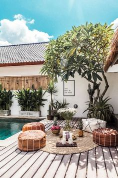Creative & Modern Boutique Villa Canggu - VYG - Villas for Rent in Kuta Utara, Bali, Indonesia Kuta, Bali House, Backyard Patio, Backyard Landscaping, Balinese Villa, Balinese Interior, Tropical Houses, Tropical House Design, Tropical Pool