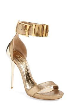 Alexander McQueen Metal Heel Sandal Gold
