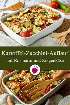 Potato and zucchini bake with rosemary and goat cheese vegetarisch lifestyle recipes grillen rezepte rezepte schnell Veggie Recipes, Lunch Recipes, Mexican Food Recipes, Salad Recipes, Vegetarian Recipes, Healthy Recipes, Ethnic Recipes, Zucchini Casserole, Vegetable Drinks