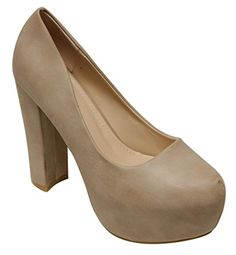 Top Moda Tube-1 Women's pointy toe platform chunky heel slip on pumps shoes Beige 9 - http://all-shoes-online.com/top-moda/9-b-m-us-top-moda-tube-1-womens-pointy-toe-platform-on