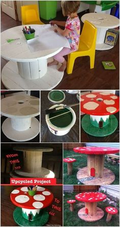 10 Totally Fun Diy Garden Table Ideas For Your Home - Diy Crafts Backyard For Kids, Diy For Kids, Crafts For Kids, Backyard Ideas, Garden Ideas, Cool Diy, Fun Diy, Spool Crafts, Diy Crafts