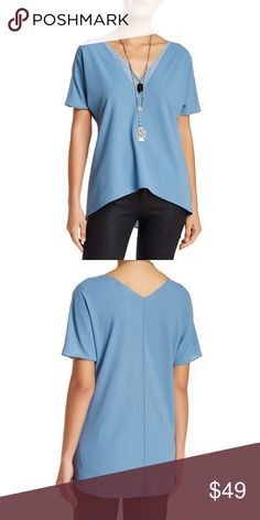 """Cooper & Ella Molly Blouse Periwinkle Molly blouse with double layer V-neck. Has a hi-low hem--shortest ~26"""" and longest length ~29"""". Beautiful Blouse with tags! Cooper & Ella Tops Blouses"""