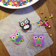 Owls hama beads by eenam. I still have this stuff from when my kids were little. Guess what I need todo with Brooklyn?