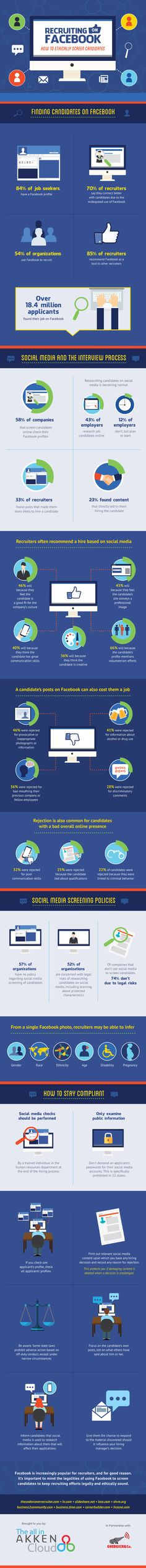 Recruiting On Facebook: How To Ethically Screen Candidates - #infographic #socialmedia
