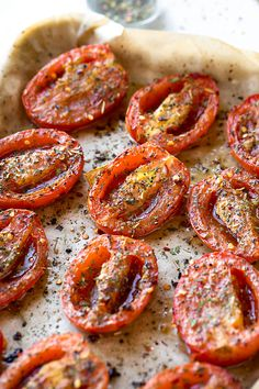Simple, sweetly-savory and succulent, these roasted tomatoes seasoned with the earthy flavors of olive oil, garlic, and herbs are a vibrantly colorful and flavorful side dish to most any meal you serve. Tomato Side Dishes, Vegetable Dishes, Vegetable Recipes, Vegetarian Recipes, Cooking Recipes, Healthy Recipes, Vegetarian Grilling, Healthy Grilling, Yummy Recipes