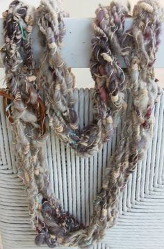 Hand Knit Bulky Scarf  in Multi Color Handspun Raw by bpenatzer, $81.00