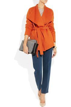 Orange wool and cashmere-blend felt Folded collar, belt loops, belt, side slit pockets, open front Slips on 60% wool, 40% cashmere; lining: 100% viscose Dry clean