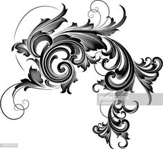 Vector - Designed by a hand engraver, this carefully drawn and highly. Engraving Tools, Metal Engraving, 4 Element, Baroque Design, Gorgeous Tattoos, Ornaments Design, Scribe, Banner Design, Vector Design