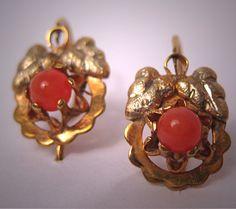 Starožitný viktoriánské náušnice Gold Coral Vintage šperky