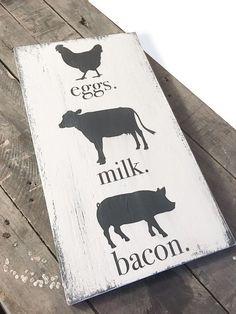 eggs. milk. bacon. wood sign