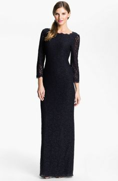 Adrianna Papell Blue Scalloped Lace Gown