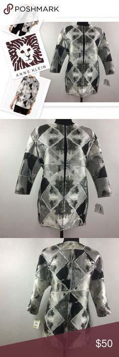 """🆕 Metallic Patchwork Open Front Collarless Jacket Fashion forward, feminine Jacket by Anne Klein ✨ Shines in any Light ✨ This collarless Jacket is open front, no closures, has 3/4 length sleeves & is lined. Length: Approximately 27"""" Material: Polyester Size:4 Anne Klein Jackets & Coats"""