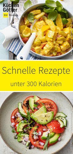 30 schnelle Rezepte unter 300 Kalorien Do you want to lose weight but have little time to cook? No problem: Curtain up for our recipe ideas that can be prepared in a maximum of 30 minutes and have less than 300 calories per serving. Meals Under 400 Calories, 400 Calorie Meals, Low Calorie Recipes, Calorie Diet, Quick Recipes, Quick Meals, Diet Recipes, Healthy Recipes, Paleo