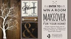 Enter to win a fresh coat paint from Sherwin Williams and a Perfect Pairings Art Wall from Home Farm Goods!