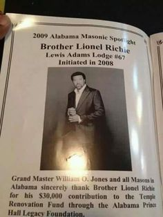 Lionel Richie, Lewis Adams Lodge No. Initiated in Masonic Art, Masonic Lodge, Masonic Symbols, Famous Freemasons, Black Church, Lionel Richie, Eastern Star, Out Of Touch, In God We Trust