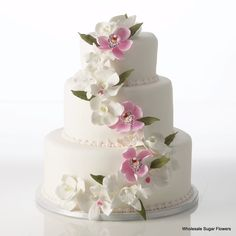 Gumpaste Sugar Flowers - Whimsical Perfection Cake Kit comes with pre-made Gumpaste Flowers: Vanda Rose Davies, Cattleya & Phalaenopsis Orchids and Pink Cymbidiums Wedding Cake Fresh Flowers, Fall Wedding Cakes, Beautiful Wedding Cakes, Wedding Cake Toppers, Beautiful Cakes, Floral Wedding, Boho Wedding, Wedding Rings, Bolo Floral