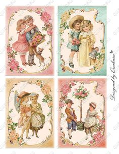 Young Vintage Couples Romance Cards Valentine Cards by quakasu