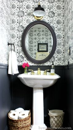 Cool 47 Affordable Small Powder Room Decor And Design Ideas. Cool 47 Affordable Small Powder Room Decor And Design Ideas. Look Wallpaper, Powder Room Wallpaper, Bathroom Wallpaper, Verses Wallpaper, Wallpaper Ideas, Hanging Wallpaper, Modern Wallpaper, Black Powder Room, Tiny Powder Rooms