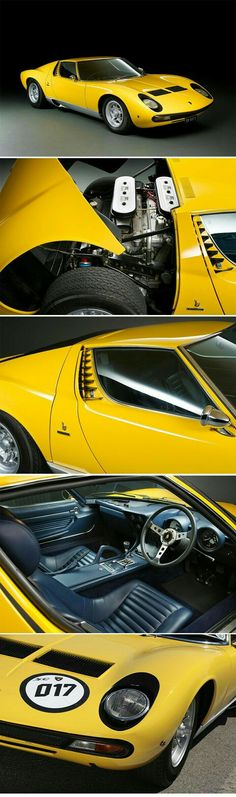 1972 Lamborghini Miura SV Coupé Coachwork by Carrozzeria Bertone - Yellow Car Lamborghini Miura, Exotic Sports Cars, Classic Sports Cars, Best Classic Cars, Porsche, Retro Cars, Vintage Cars, Maserati, Yellow Car