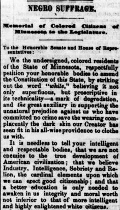 African American Suffrage in Minnesota, 1868 Constitution, Minnesota, The Fosters, Public, African, History, Words, Men, Historia