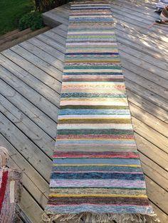 Long 4m Vintage Swedish Rag Rug in Blue Pink by BeyondFranceLTD