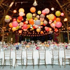 Colorful lanterns for the wedding- Bunte Lampions zur Hochzeit Your own wedding is one of the most beautiful days in your life, so it should be perfect and nothing … - Floating Paper Lanterns, Paper Lantern Lights, Lantern Lighting, Paper Lantern Decorations, Hanging Lanterns, Paper Lantern Chandelier, Icicle Lights, Table Lighting, Chinese Lanterns