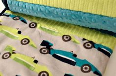 Boys Large Double Minky Blanket with Race Cars & by SewGreatful, $50.00