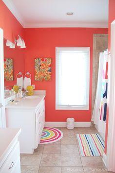 Chu Cottage – Tybee Island, GA (House of Turquoise) Coral Bathroom Decor, Bathroom Colors, Peach Bathroom, Design Bathroom, Bathroom Ideas, Peach Paint Colors, Coral Design, Walk In Shower Designs, House Of Turquoise