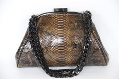 Glazed Tiger Eye python evening bag. Isn't the coloring beautiful?