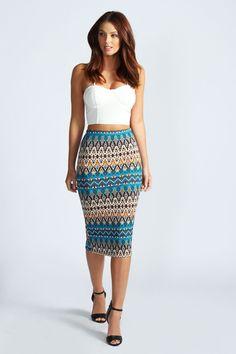 Ellenor Aztec Print Midi Skirt at boohoo.com