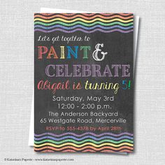 Chalkboard Rainbow Birthday Party Invitation - Rainbow or Art Party - Digital Design or Printed Invitations