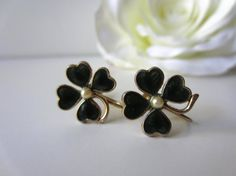 Vintage Enamel Four Leaf Clover Earrings by LolaandRettsdelight, $18.00