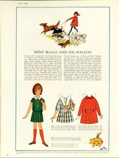Vintage August 1964 Magazine Paper Doll of Betsy McCall Goes Dog Walking