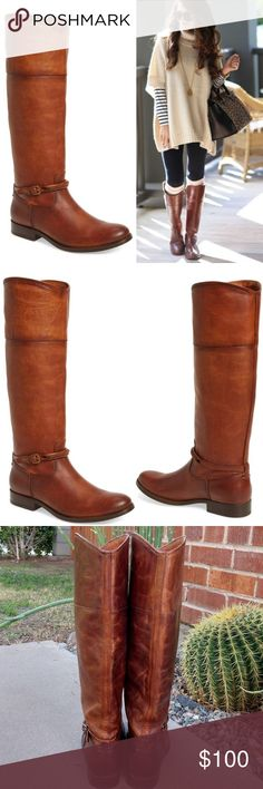 """Timeless Frye Melissa Seam tall boots brown 8 Hello! I need to downsize my Frye collection after some recent shopping! 🤣 These beautiful boots have an approx. 16"""" shaft height, 14 1/4"""" circumference, & 1"""" heel. Some signs of wear to leather but Frye leather  gets better with age. Cognac color. Model (1st pic) is shown for a styling idea (she has on different boots). Actual boots shown below. Super comfortable and versatile. Nonsmoking home. I LOVE reasonable offers and hope to have the…"""