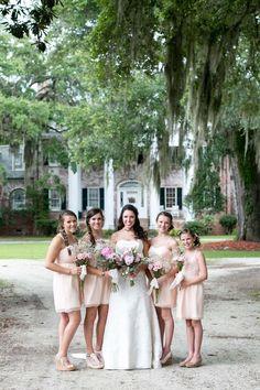 Southern wedding: Custom blush pink bridesmaids & junior bridesmaids dresses by Dahl NYC. Photos by Shane Welch.