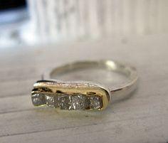 Rough Diamond Ring Silver Diamond Ring Raw by HotRoxCustomJewelry