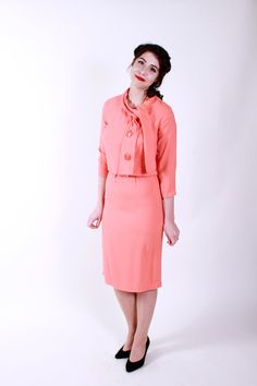 1950s Vintage Suit Coral Wool Jersey 50s Vintage by stutterinmama, $62.00