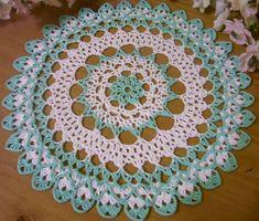 aqua blue and white doily by Aeshagirl on Etsy