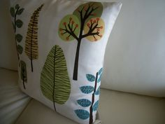 Throw Pillow Cover  Modern Trees 18 x 18