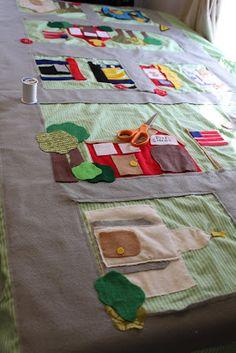 do it yourself divas: DIY: Car Mat/Play Mat made from Felt Car Play Mats, Car Mats, Baby Crafts, Felt Crafts, Sewing For Kids, Diy For Kids, Sewing Crafts, Sewing Projects, Felt Play Mat