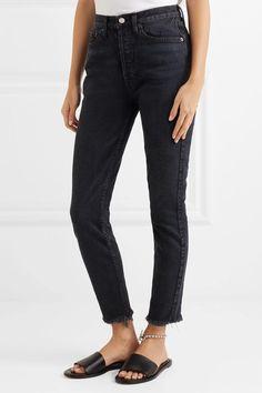 RE/DONE - Originals High-rise Ankle Crop Frayed Skinny Jeans - Black