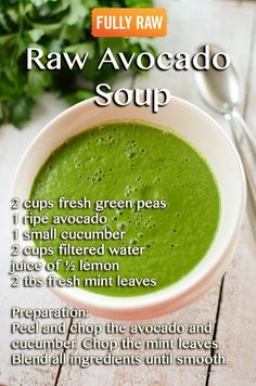 I love avo and have never thought about using it in a soup. This Raw Avocado Soup, sounds like a great addition to my new healthy eating plan. Vegan Soups, Raw Vegan Recipes, Vegan Vegetarian, Healthy Recipes, Healthy Soup, Vegan Cru, Roh Vegan, Soup Recipes, Whole Food Recipes