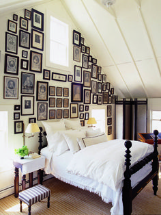 Fab all-black frames gallery wall.  Love the mix of organized and random spacing.