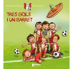 """I2 - """"Tres gols i un barret"""", de Mark Janssen i Gerard van Gemert.  Els set jugadors del F. C. Tossa Plana són tots de països diferents, i jugar a futbol és el que els uneix. Avui, precisament quan juguen el partit de futbol que els pot posar primers de la lliga, en Rafa ha perdut el seu barret. No poden fer la dansa del barret, la dansa que els porta tanta sort…"""