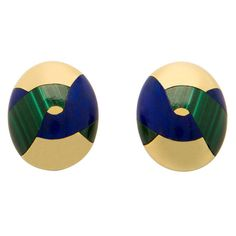 Tiffany & Co. Angela Cummings Lapis Malachite Gold Earrings. 18k yellow gold, rich lapis and malachite create a sophisiticated design. Simple elegance. 7/8 of an inch in size.
