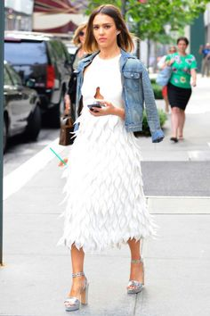 Jessica Alba wearing Bionda Castana Zoe Silver Calf Leather Laser Cut Platform Sandals, Giambattista Valli Spring 2015 and Lela Rose Spring 2015