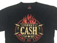 """Vintage Men's JOHNNY CASH """"Ring of Fire"""" Large T-Shirt Black Short Sleeve  #Zion #GraphicTee Available For Purchase on Ebay: DansThreads  DON'T MISS OUT! Just Click on the Picture!"""