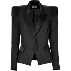 MAXIME SIMOENS Black Strong-Shouldered Jacket (€380) ❤ liked on Polyvore featuring outerwear, jackets, slim tuxedo, slim fit blazer, long jacket, long blazer jacket and tuxedo jacket